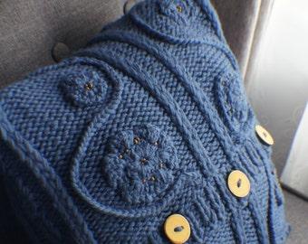 Knit Pillow Cover, Pillow cover, Decorative Pillow Cover, Accent Pillow Cover, Decorative Pillow Cover, Denim Blue Pillow 16x16 OOAK