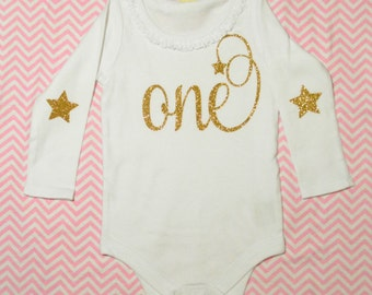 Twinkle Star Birthday Long Sleeve Onesie White with Gold Glitter