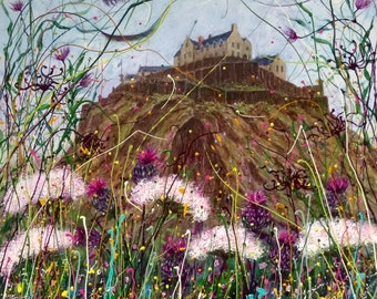 Late Summer, Edinburgh Castle.     Print , Scotland, Thistles, wildflowers