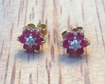 SALE! 14K Ruby And Diamond Flower Earrings