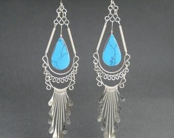 turquoise earrings turquoise jewelry boho earrings gift for her dangle earrings silver earrings december birthstone drop earrings @4
