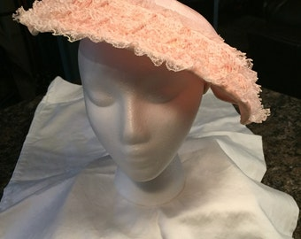 "Stunning Vintage Lacy  Pink Hat with ""Caroline Original"" Label"