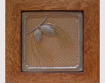 Framed Pine-cone tile, ocher/russet & green/housewarming gift, wall decor