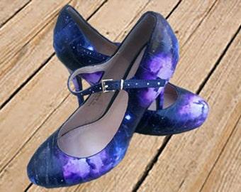 Decoupage Galaxy Mary Jane's / Decoupage Galaxy Heels / Galaxy Heels / Galaxy Mary Jane's / Decoupage Heels / Decoupage Mary Jane's