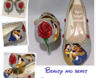 Beauty and the Beast shoes wedding bride prom custom shoes