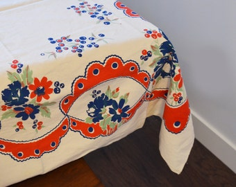 Vintage French Provencal Tablecloth, Silkscreen print in red and navy - Country Farmhouse, Rustic Fabric Folk Art