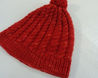 Handcrafted Beanie Knitted Hat Red Pom Pom Cable Stitch 100% Merino Wool Female