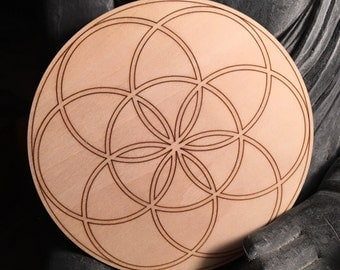 """5"""" Wooden Flower of life Crystal Grid"""