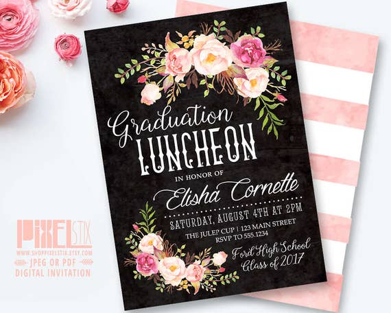 items similar to boho graduation luncheon invitation