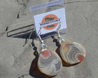 Lake Superior Agate Earrings - One of a Kind