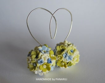 Summer earrings Flowers dangle earrings Forget Me Nots earrings white Green earrings Birthday gift for her floral jewelry Flower earrings