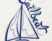 Trousse de toilette en lin motif voilier