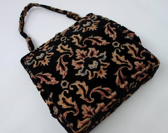 1950s 60s velvet floral tapestry bag embroidered vintage purse carpet heavyweight canvas textile bag with top handle and metal frame roomy