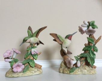 Lovely! Hummingbirds and Orchid Bell Flowers Figurines, by Kiyoto.