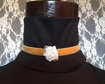 Vintage Yellow Ribbon Choker with White or Red Flower