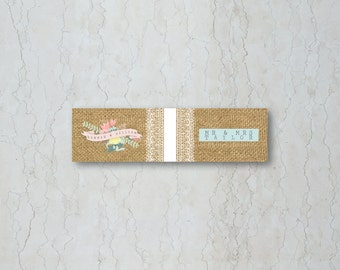 Hessian Floral Straw/Cupcake Flag