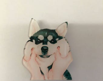 Cute Husky dog chubby face paws puppy brooch