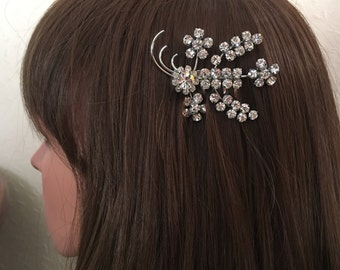 Art Deco Hair Comb: Large Vintage Art Deco Silver and Clear Diamanté Bridal Comb Wedding Headpiece