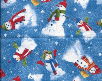 """New """"Snow Day"""" with Winter Christmas Snowmen 100% cotton fabric by the Quarter yard"""