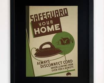 "LARGE 20""x16"" FRAMED Advertising Print, Black or White Frame/Mount, Safeguard Your Home"
