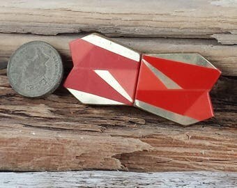 Celluloid 1920's Clasp Art Deco Sew On  Dress Decoration Red Coral Gold  . Belt Jacket Cloak Clasp . Sewing Supplies .