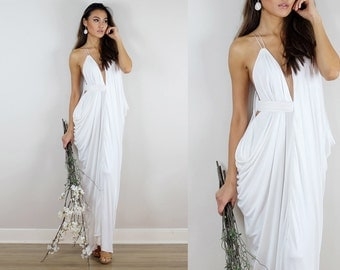 Ivory Wedding Dress, Grecian Wedding Dress, Ivory Gown, Ivory Dress,  Wedding Dress