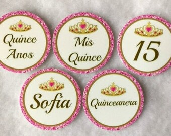 Set Of 50/100/150/200 Personalized Quinceanera 15th Birthday Party  1 Inch Circle Confetti