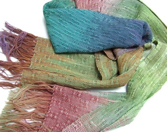 Blue green hand dyed hand woven cotton scarf hand painted fabric handweaving holiday gifts woman scarves cotton shawl hand dyed cotton