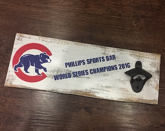 Custom Chicago Cubs Sports Bar Vintage Style Wall Mounted Bottle Opener -  Add Your Name - Any Team - Groomsmen Gift - Man Cave - Sports Fan