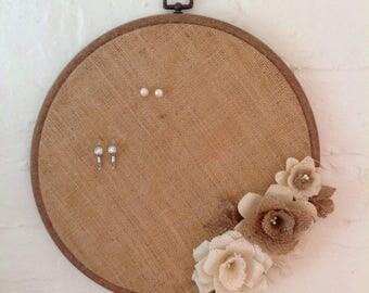 "Hessian / Burlap Jewellery Wall Hoop Shabby Chic Vintage 10"""