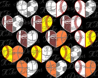 Sports Mom Split Hearts - SVG Design Download - Vector Cut File - Baseball - Softball - Football - Soccer - Basketball