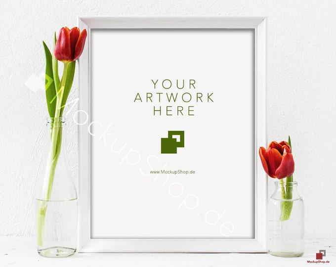 "Red TULIPS MOCKUP FRAME 8x10"" / spring flowers / valentines day / white empty frame mockup / flower frame mockup / roses  vertical frame"