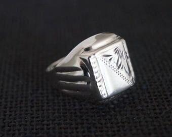 Vintage Sterling Silver Signet Ring - Vintage Signet Ring - Vintage Silver Signet Ring - Silver Mens Ring Vintage Mens Ring Size Z + Large