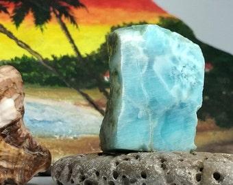 Larimar 18g 90ct Slab Aqua Turquoise Marbled Lapidary Cabbing Display Caribbean Beach Sky Blue Pectolite Rough Raw Stone Unique