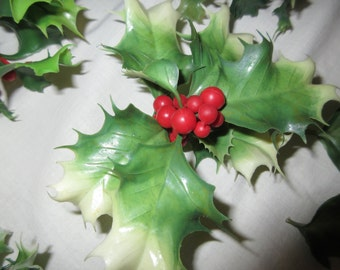 Vintage plastic holly and berry supplies circa 1960s