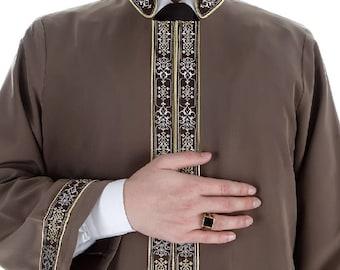 Ulia Muslim Long Kurta XS, S, M, L, XL  Islamic Mens Wear, Bordured Thobe, Galabiyya, Jubbah, islamic wear, Muslim Tunic, Cubbe