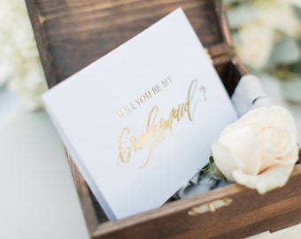 Gold Foil Bridesmaid Cards