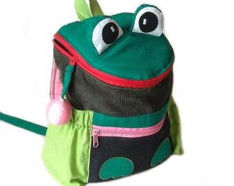 Kids backpack frog Lady kindergarten bag corduroy, denim and cotton the frog design with side pockets, handmade, name