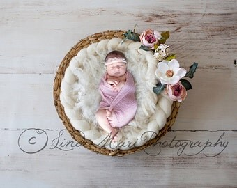 digital backdrop Newborn Photography Prop (White Magnolia Basket)