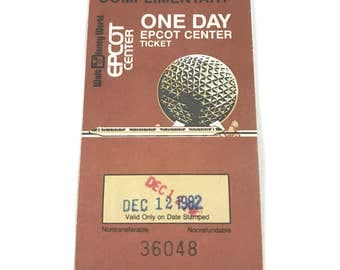 Vintage EPCOT Center Ticket - Complimentary One Day - 1 Day Adult Ticket from December 12, 1982 From Walt Disney World