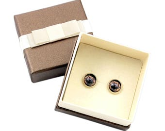 Leoneberger. Pet in your ear. Earrings with box. Photojewelry. Handmade.