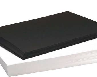Recycled A4 Black and White Card 220gsm and 270gsm Zebra Colour Craft Card Value Pack Stock 100 Sheets