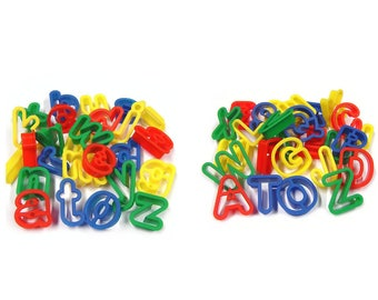 Plastic Upper and Lower Case Dough Cutters Pack of 52 Washable Bright Colour Alphabet Dough Cutters