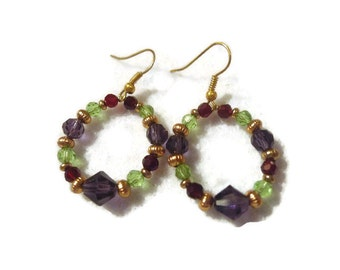 Gold Metal Beads Hoop Earrings Featuring Plum, Garnet and Peridot Glass Crystals 138