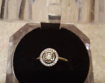 Sterling silver diamond engagement ring size 9