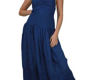 Goddess dress long maxi balloon dress backless dress Dress with pockets Backless Halterneck dress