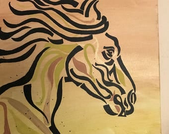 Sage horse #1, horse head, beautiful mane, black, sage, copper FREE SHIPPING