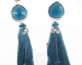 Long earrings swarovski crystal bicones glass connector and tassels