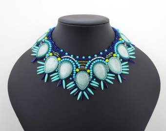 statement necklace, aventurine necklace, turquoise necklace, gypsy jewelry, tribal jewelry, colorful jewelry, handmade unique gift