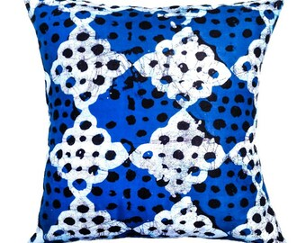 Batik Blue African Print Fabric Pillow Covers|100% Cotton